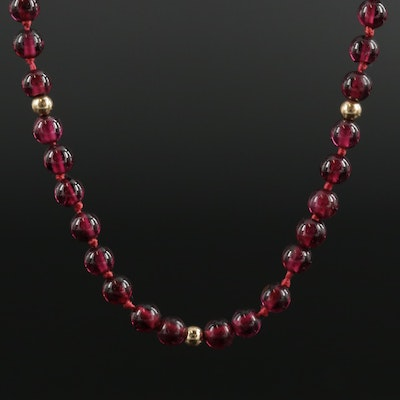 14K Yellow Gold and Garnet Beaded Necklace