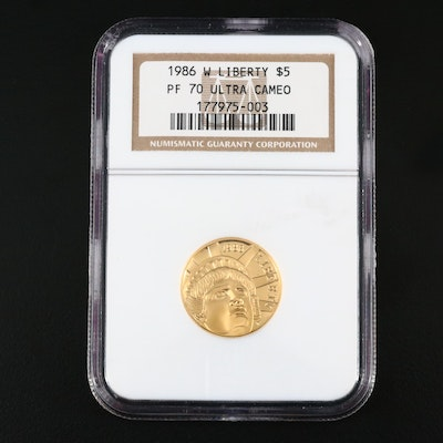 NGC Graded PF70 Ultra Cameo 1986-W Liberty Commemorative $5 Gold Proof Coin