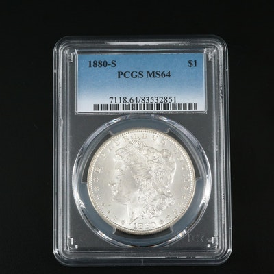 PCGS Graded MS64 1880-S Silver Morgan Dollar