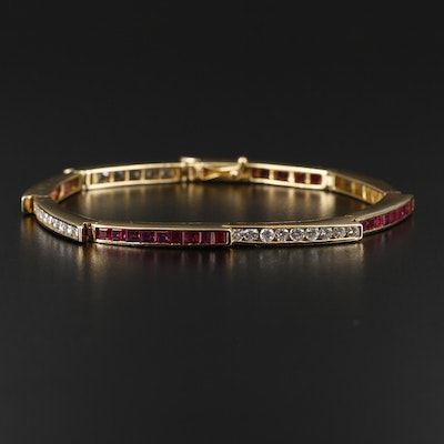 Charles Krypell 18K Yellow Gold Ruby and 1.98 CTW Diamond Bracelet