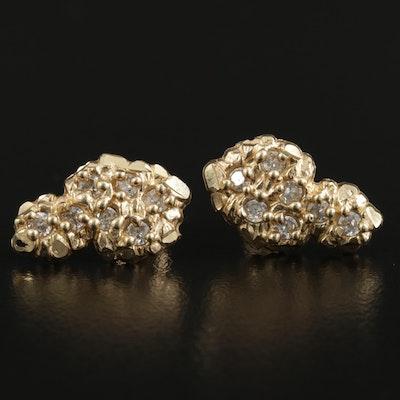 10K Yellow Gold Cubic Zirconia Nugget Drop Earrings