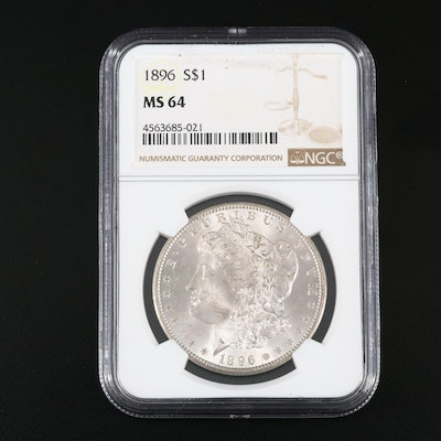 NGC Graded MS64 1896 Silver Morgan Dollar