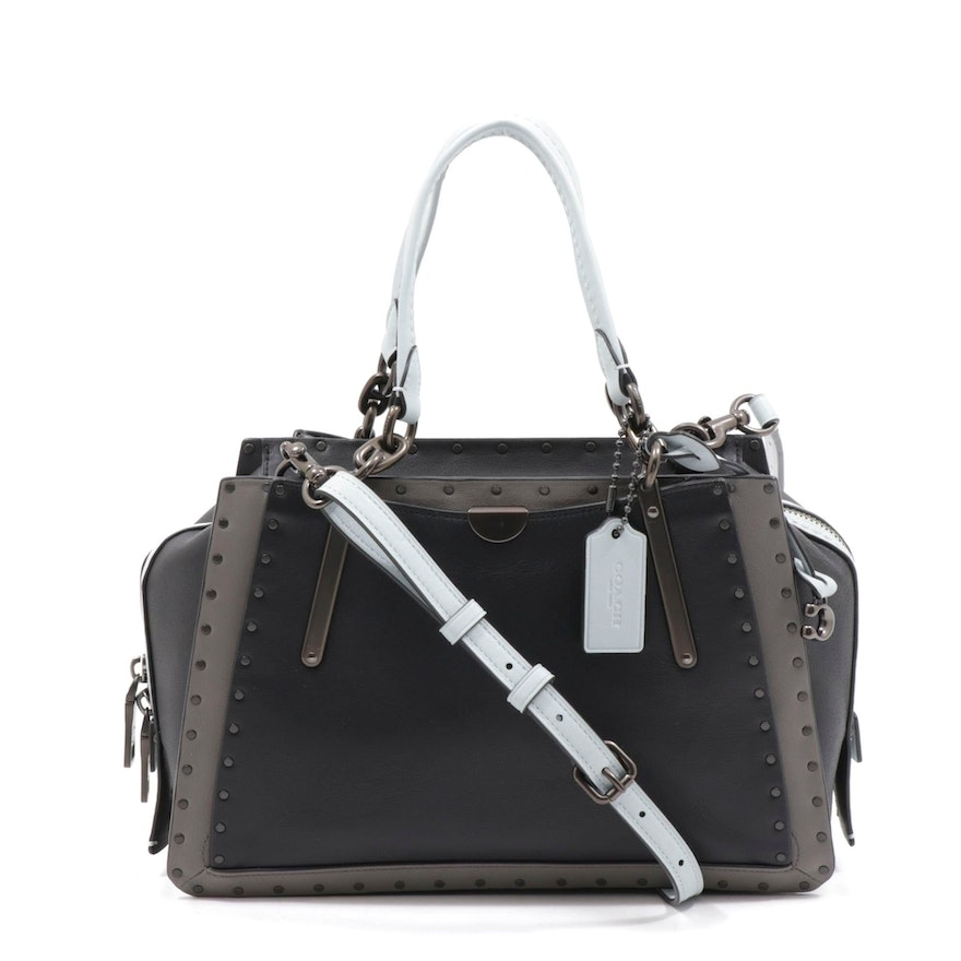 Coach Leather Dreamer 36 Convertible Satchel with Border Rivets