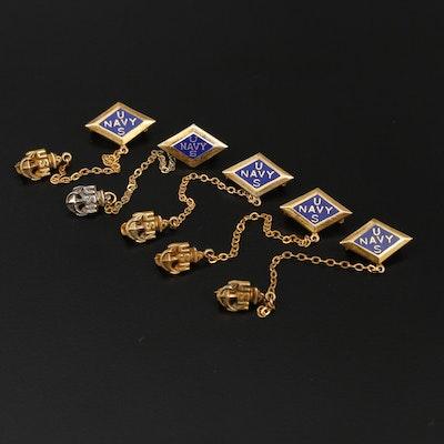Sterling Silver Enamel US Navy Pins