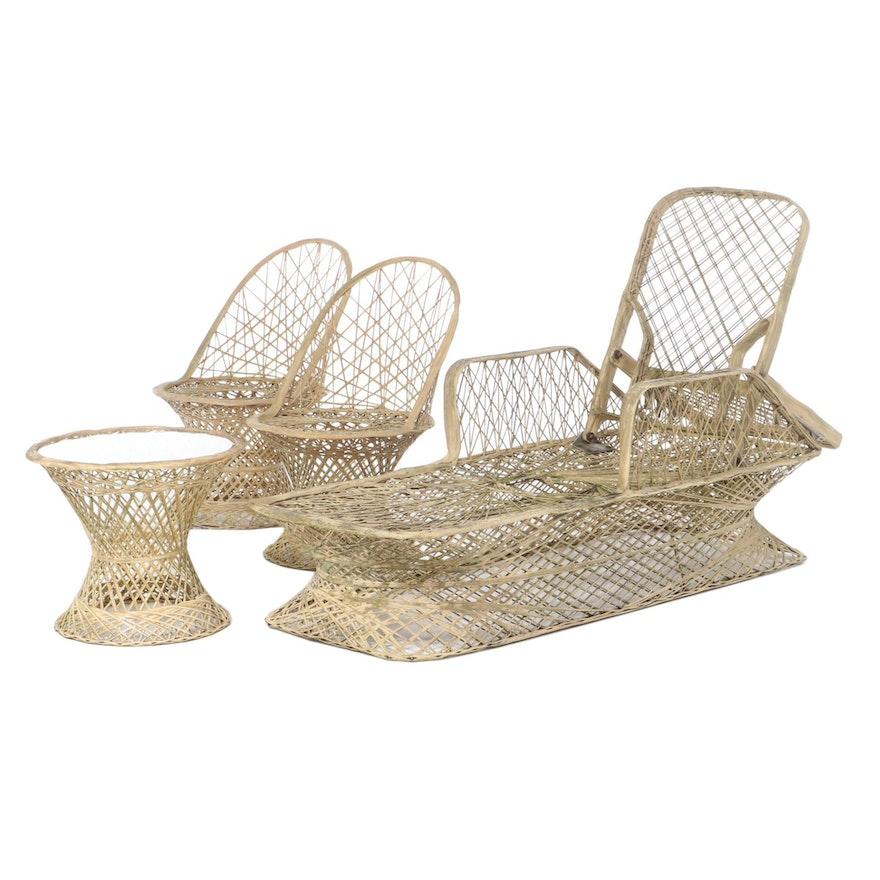Spun Fiberglass Pool Lounger, Table and Side Chairs, 1960s