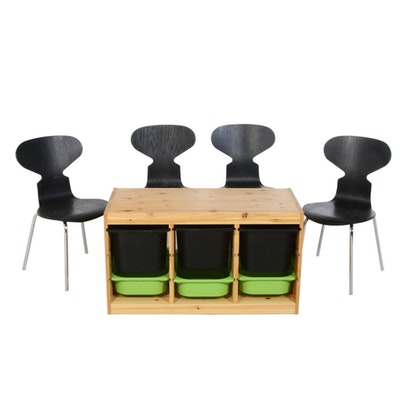 Four Mid Century Style Restoration Hardware Plywood Chairs and Storage Bin Unit