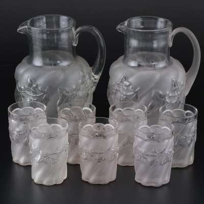 "Northwood Frosted ""Royal Ivy"" Water Pitchers and Tumblers"