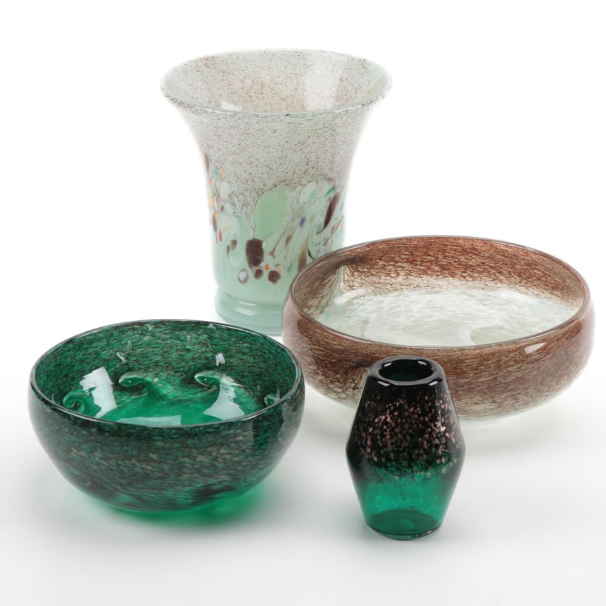 Scottish Art Glass Vases and Bowls Including Vasart, 20th Century