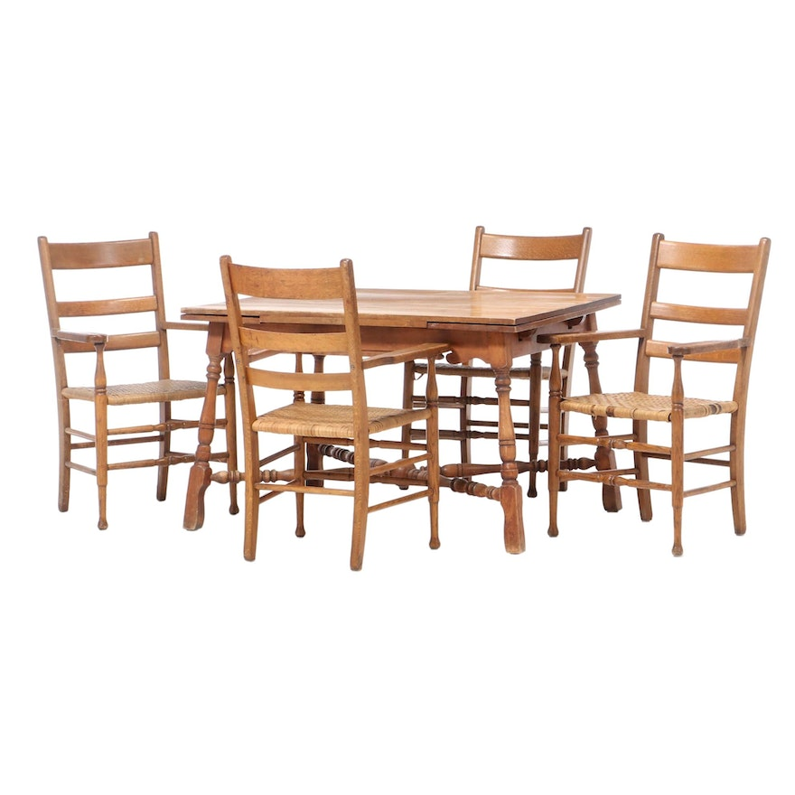 Maple Draw Leaf Dining Table and Four Oak Armchairs, Early to Mid 20th Century