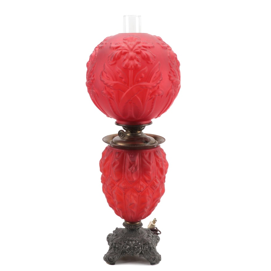 Victorian Frosted Ruby Parlor Lamp With Iris Motif