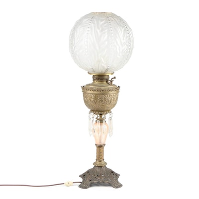 Victorian Embossed Brass and Glass Converted Parlor Lamp with Globe Shade