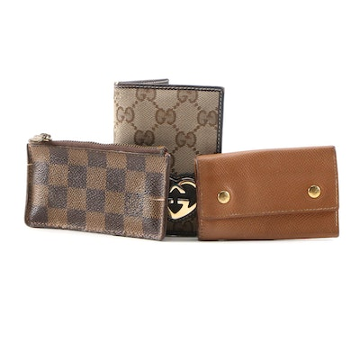 Gucci Card Case, Hermès Key Holder and Louis Vuitton Coin Purse