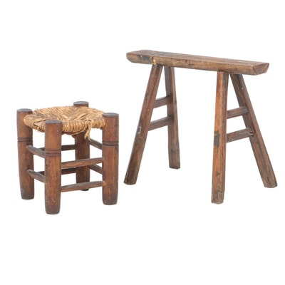 Chinese Elm Bench and Pine Rush-Seat Stool, Early 20th C.
