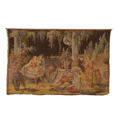 European Machine-Woven Jacquard Tapestry of a Venetian Courting Scene