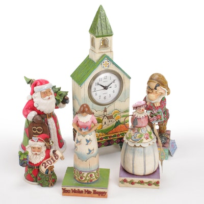 Jim Shore Heartwood Creek Collection Figurines and Mantle Clock