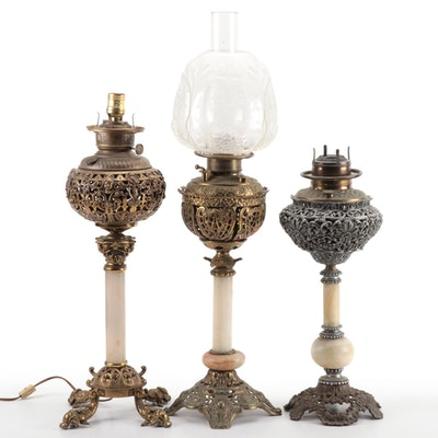 American Victorian Cast Metal and Stone Parlor Lamps, Early 20th Century
