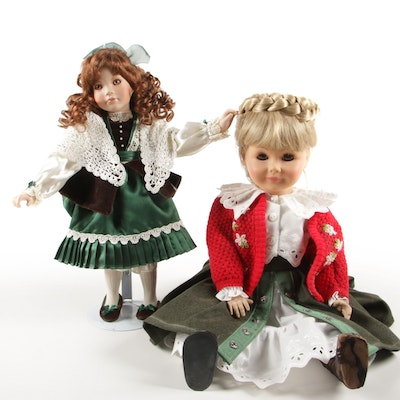 Linda Mason Porcelain Kathleen Doll and Bavarian Engel-Puppen Doll