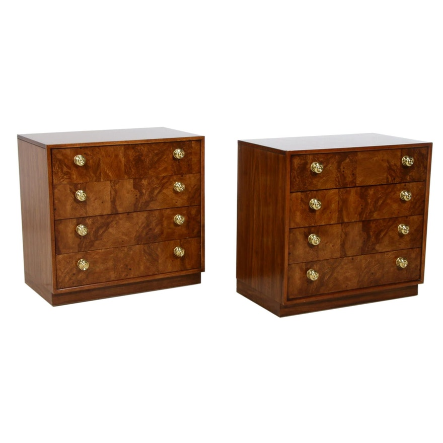 "Pair of Drexel ""Precedent"" Burlwood Chest of Drawers, Mid to Late 20th Century"