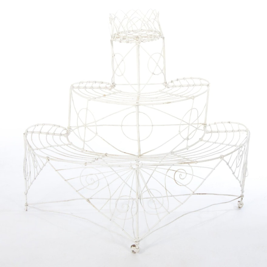 Victorian Wirework Demilune Plant Stand, Late 19th Century