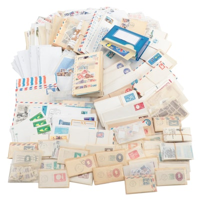 Stamp Collection Featuring The United Nations and Foreign Postcards