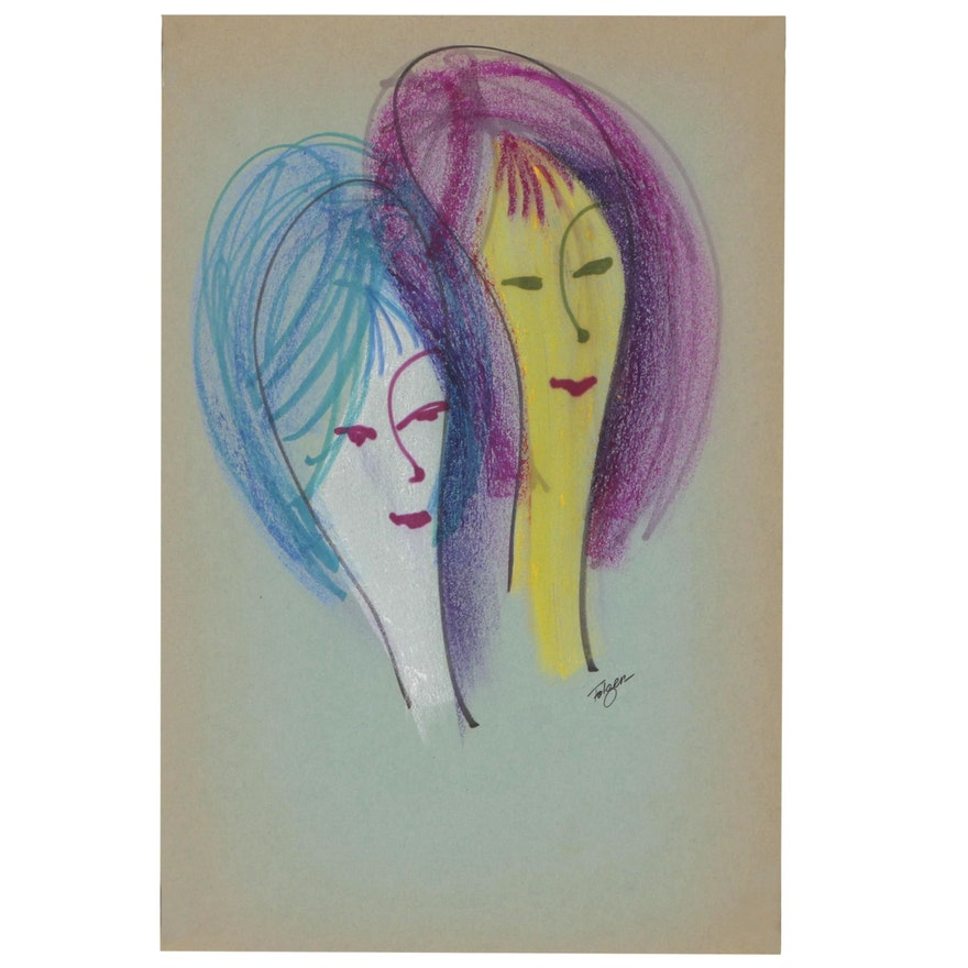 Franklin Folger Ink and Pastel Drawings of Female Figures
