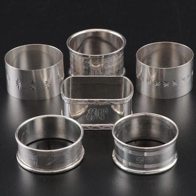 English Sterling Silver Napkin Rings Including Francis Howard Ltd of Birmingham
