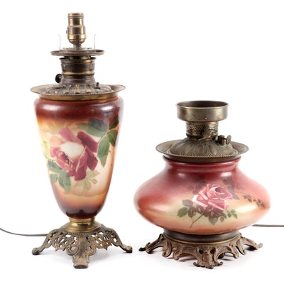 Converted Victorian Table Lamps with Rose Flower Motif