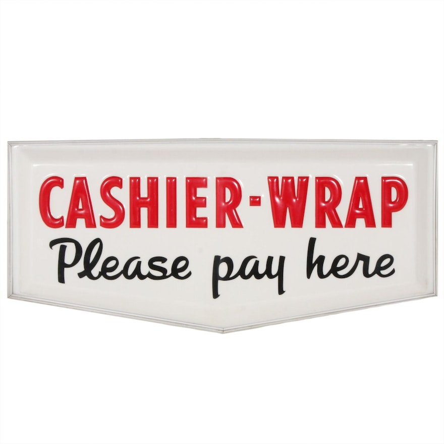 """Woolworth """"Cashier-Wrap, Please Pay Here"""" Sign, Vintage"""