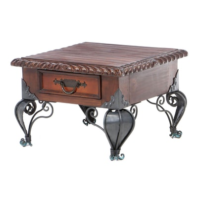 Artisan Carved Reclaimed Wood Table on Wrought Iron Legs, Vintage