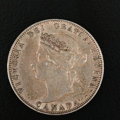 1874-H Canadian Silver Quarter