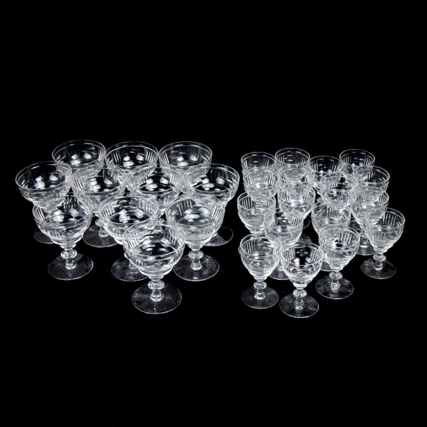 Webb Corbett Cut Crystal Coupes and Cordials, Early to Mid 20th Century