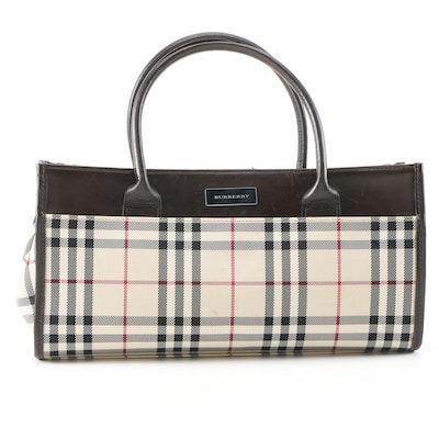 Burberry Check and Dark Brown Leather Handbag