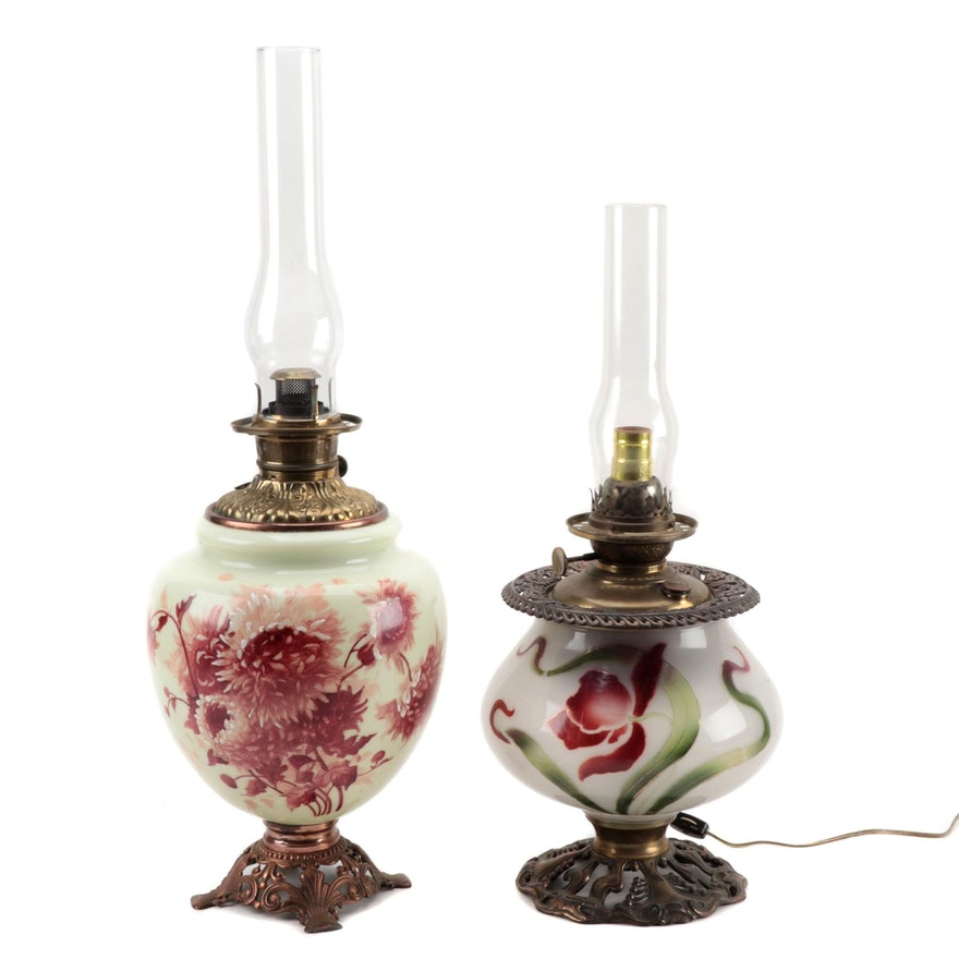 American Art Nouveau and Arts and Crafts Parlor Lamps, Early 20th Century