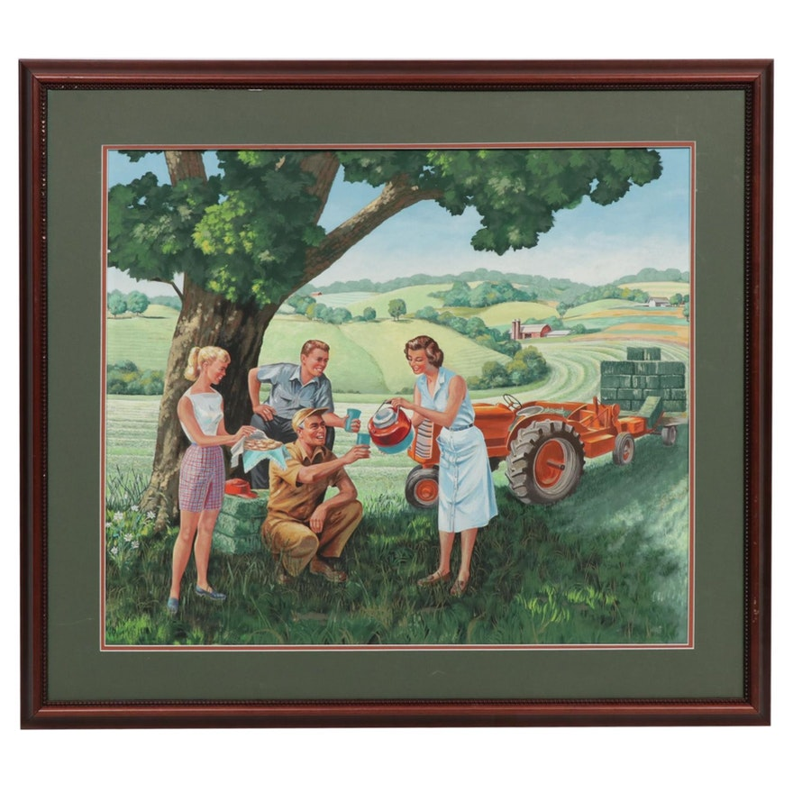 1950's Style Farm Scene Gouache Illustration Painting