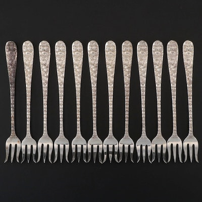 """Schofield """"Baltimore Rose"""" Sterling Silver Oyster Forks, Early/Mid 20th Century"""