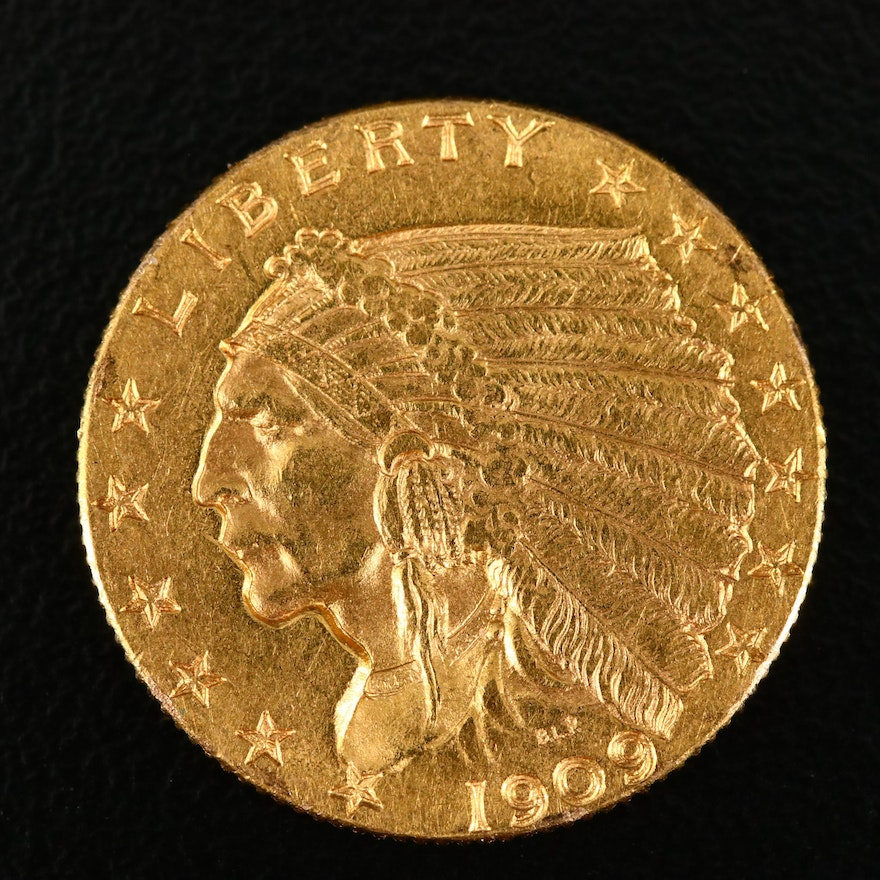 1909 Indian Head $2 1/2 Gold Coin