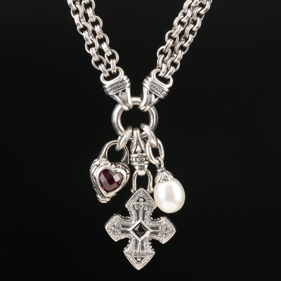 Scott Kay Sterling Silver Pearl, Garnet and Black Onyx Charm Necklace