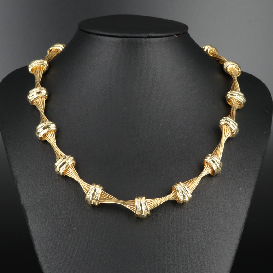 Henry Dunay 18K Yellow Gold Twisted Wire Necklace