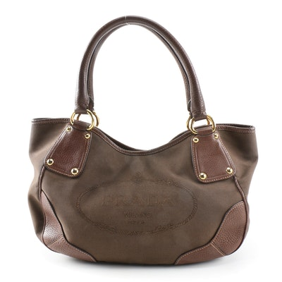 Prada Brown Canapa Canvas and Vitello Daino Leather Shoulder Bag