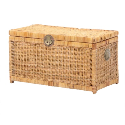 Natural Wicker Trunk, Mid to Late 20th Century