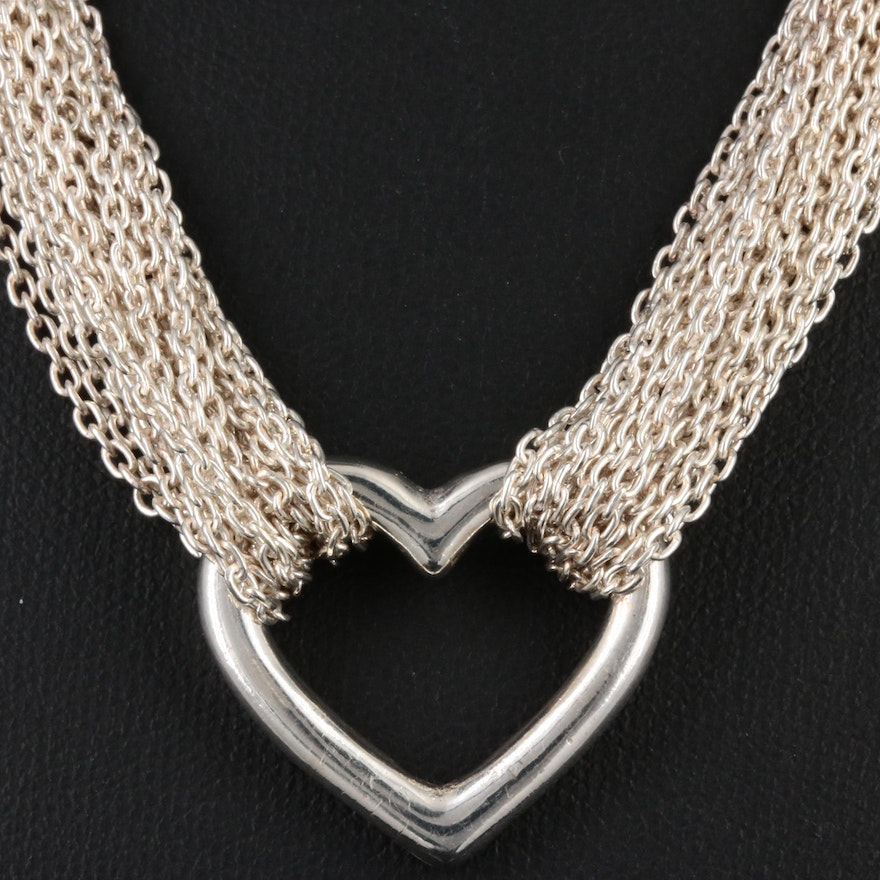 Sterling Silver Heart Multi-Chain Necklace