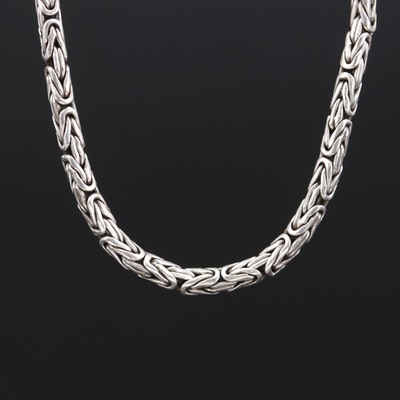 Sterling Silver Byzantine Link Necklace