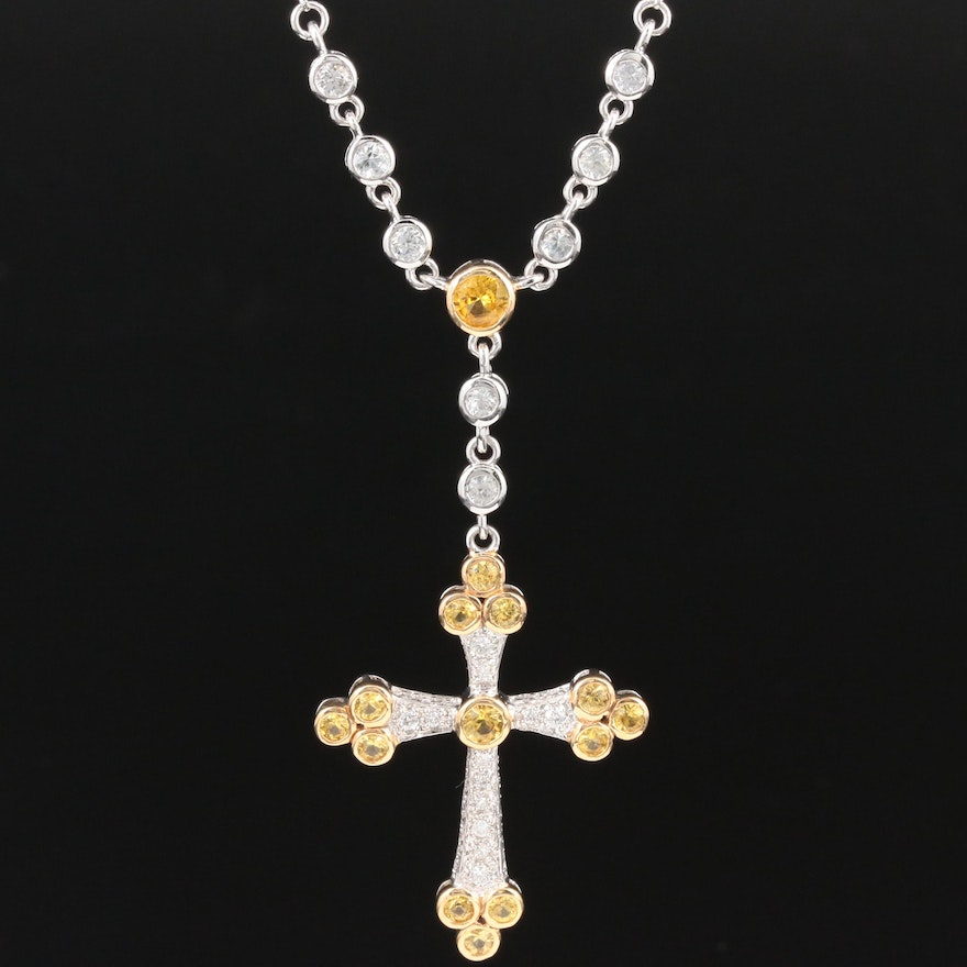 14K Colorless and Yellow Sapphire and Diamond Cross Necklace
