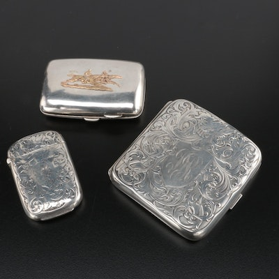 English and American Sterling Silver Cigarette Cases and Match Holder