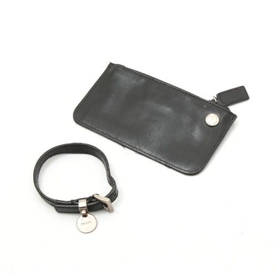 Prada Black Leather Coin Purse and Bracelet
