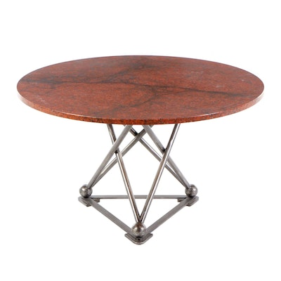 Rouge Granite and Metal Dining Table