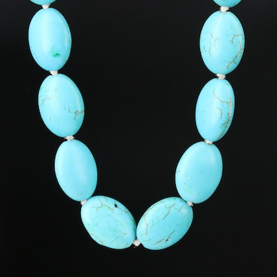 Hand Knotted Howlite Beaded Necklace with 14K Gold Clasp