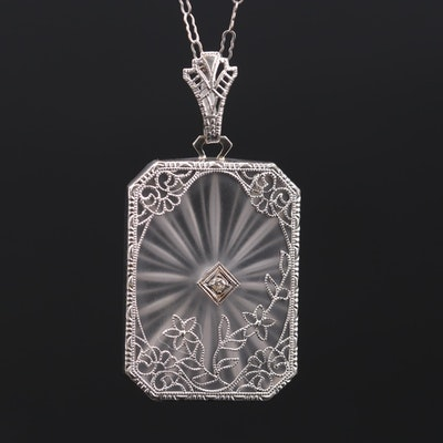Art Deco 14K White Gold Rock Crystal Quartz and Diamond Pendant Necklace
