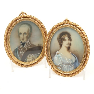 Miniature Portrait Paintings on Celluloid in Hanging Frames, Antique