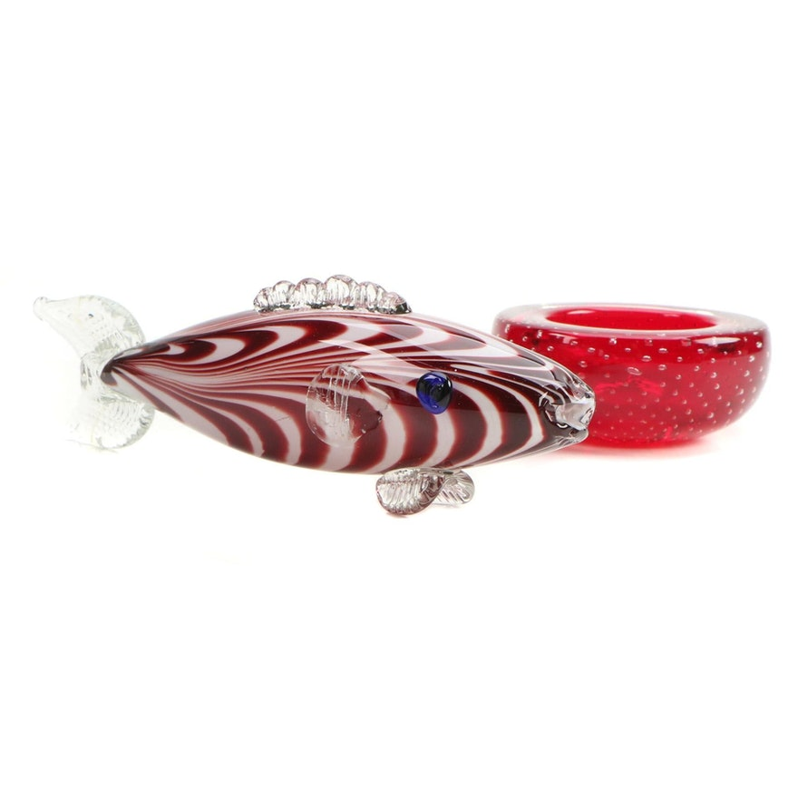 Whitefriars Controlled Bubble Red Art Glass Bowl with Blown Glass Fish Figurine